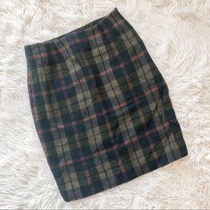 Plaid Wool Cashmere Blend Skirt